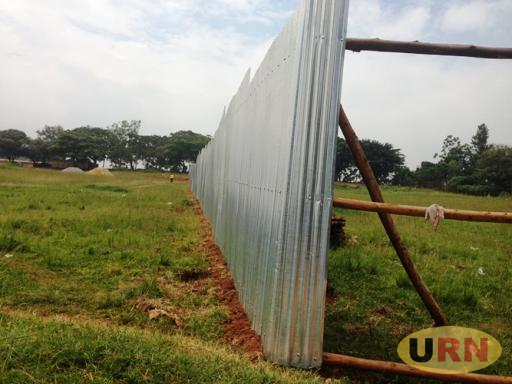 Iron sheets used to fence off part of the Masaka Golf Course land.