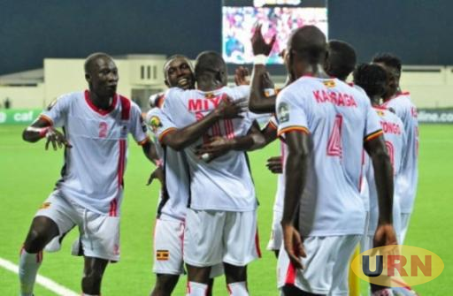 Uganda Cranes players celebrate a goal during the 2016 CHAN competition in Rwanda.
