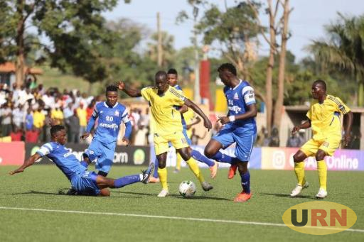 KCCA FC' Muzamir Mutyaba battling against Rivers United FC two weeks ago in Kampala. in the