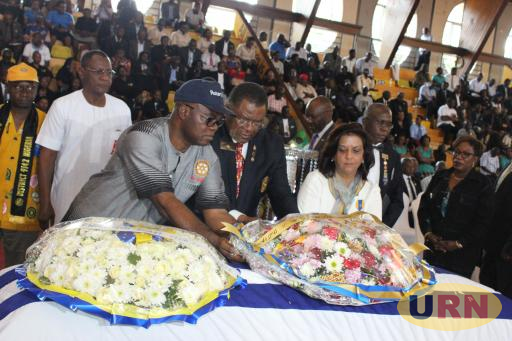 A section of  District Governors from across Africa lay wreath on Owori's casket