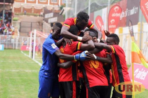 Uganda Cranes team celebrate a goal at the St. Marys Stadium in Kitende on Saturday.