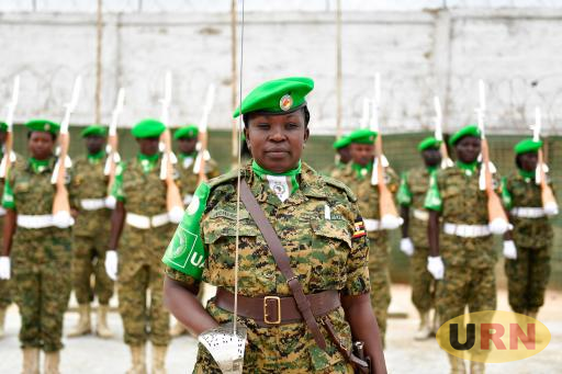A guard of honour mounted for the Chief of Defense Forces (CDF), of the Uganda People's Defence Force Gen David Muhoozi during an official visit in Mogadishu, Somalia on 15 August 2017