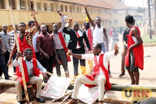 A group of Makerere University students on strike recently.