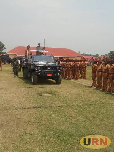 President, Museveni inspecting a guard of honor by the Uganda Prison recruits