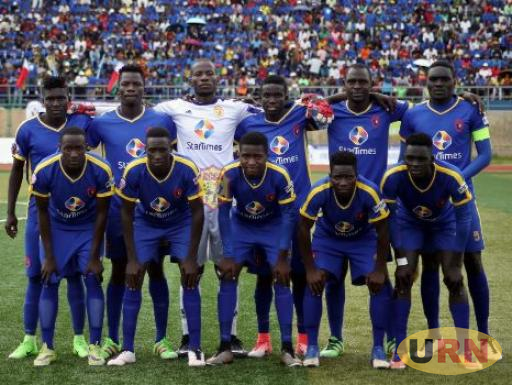KCCA FC team line-up ahead of the game in Madagascar on Saturday.