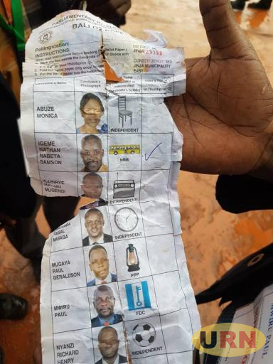 One of the pre-ticked ballot papers being displayed in Jinja.