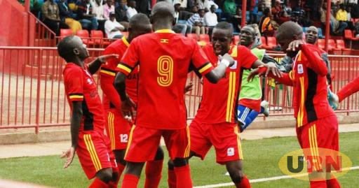 Defending champions Uganda Cabs celebrate a goal in their game that ended 1-1 against Tanzania on Sunday.