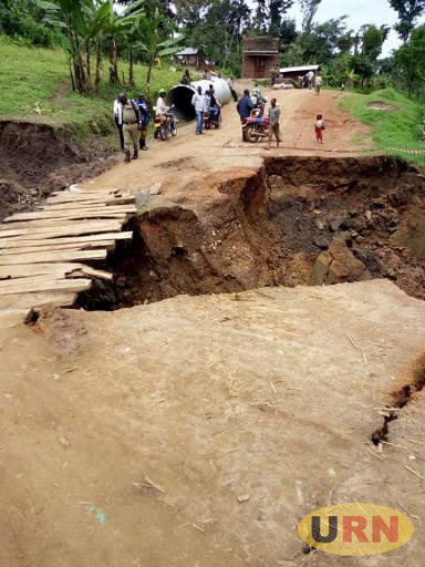 One of the roads destroyed by floods in Manafwa district