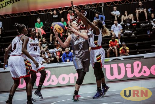 Ugandan team play defense in a game againts Andorra