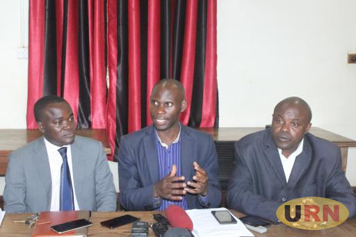 Rev. Dr. Grace Lubaale, FASPU chairperson, Jackson Betihamah, the Puntsef Chairperson and Dr. Deus Muhwezi Kamunyu, the MUASA Chairperson speaking to journalists after the joint public universities staff meeting at Makerere.