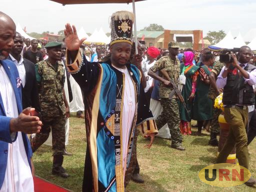 The kyabazinga of Busoga, H.R.H William Gabula Nadiope arrives for the fourth corronation anniversary in Bugweri district.