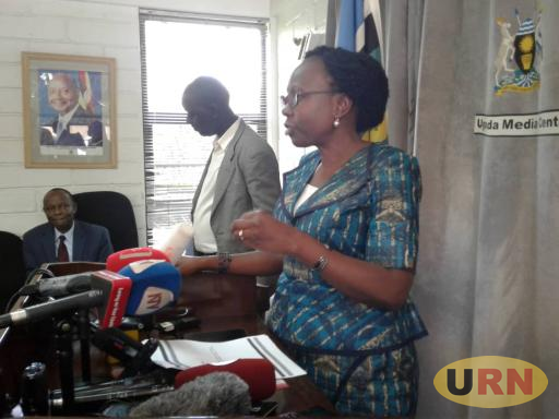 The health minister, Dr.Ruth Aceng addresses journalists at Uganda Media Center