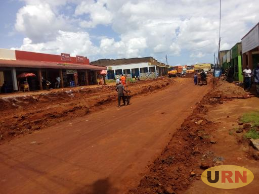 One of the streets downtown Kitgum Central Market being constructed by CICO