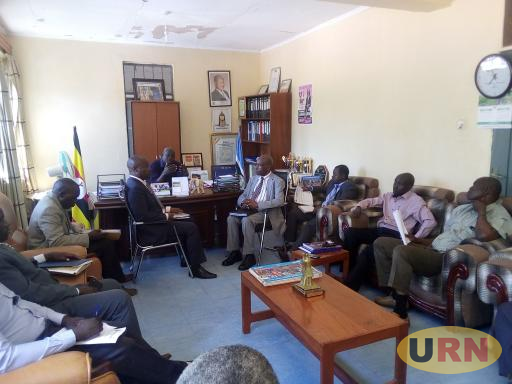 Departed Asians' Property Custodian Board officials meeting stakeholders at the Kitgum LC5 Chairperson's office