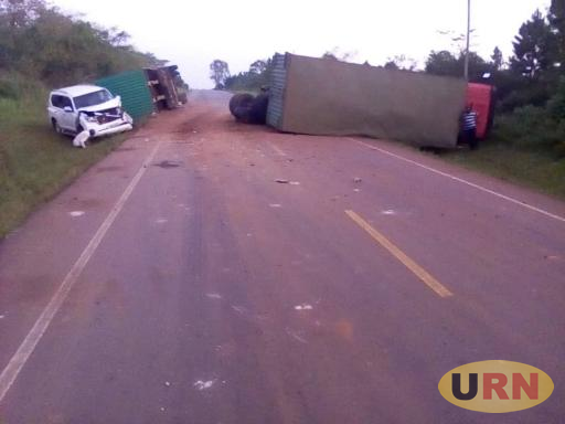 Courtesy Photo : MP Odonga Otto car after it knocked a trailer that had overturned