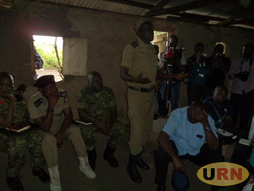 Some of the Accused security operatives pleading before Lt. Col Nakalema at Bukinda in Kikuube on Saturday Night.