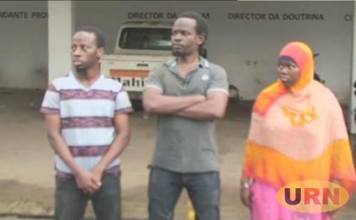 the three Ugandan terror suspects while being paraded in Nampula Province, Mozambique