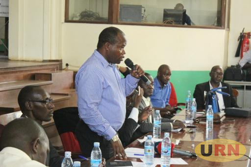 Associate Prof. Edward Mwavu, the interim Chairperson, Joint Staff Associations at Makerere University speaking during a Monday Joint Assembly.