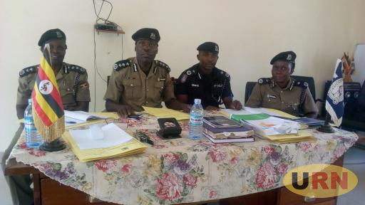 The Police Disciplinary Committee chaired by SCP Dennis Odongopiny (2nd left) during the court hearing on Friday.