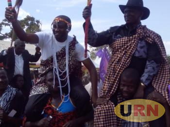 Hon Silas Aogon, the MP Kumi municipality and Hon Patrick Okabe, the MP Serere county carried on shoulders during the heritage day celebrations