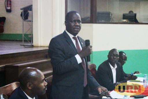 University Council Vice Chairperson Rt. Hon. Daniel Fred Kidega addressing the Makerere Joint Staff Assembly on Friday