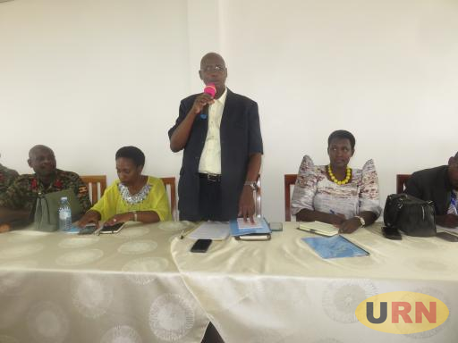 State Minister for Defense in Charge of Veteran Affair Bright Rwamirama speaking at meeting with former fighters in Bukomansimbi;  they are considering amendments in UPDF Act.