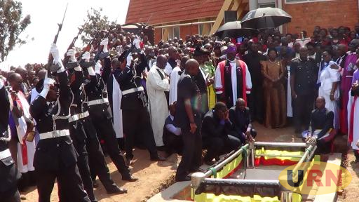 Bishop emeritus Cyprian Bamwoze laid to rest at christs' cathedral, Bugembe.