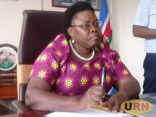 State Minister for Primary Heath Dr. Joyce Moriku Kaducu addressing the press at the Ministry headquarters in Wandegeya